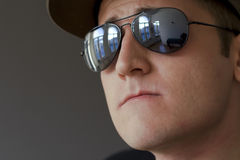 Young male with hat and sunglasses Stock Photos