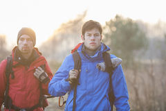 Young male hikers looking away in field Royalty Free Stock Photography