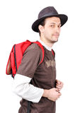 Young male holding bag on back Royalty Free Stock Image