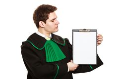 Young male lawyer hold clipboard. royalty free stock image