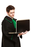 Young male lawyer hold laptop PC. Technology and career legal advice. Young male lawyer hold laptop portable computer help online Stock Photos