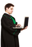 Young male lawyer hold laptop PC. Technology and career legal advice. Young male lawyer hold laptop portable computer help online Stock Images