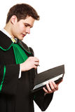 Young male lawyer hold tablet computer in open case. Technology and career legal advice. Young male lawyer hold tablet portable computer show advice and help Royalty Free Stock Photos