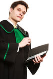Young male lawyer hold tablet computer in open case. Stock Photography