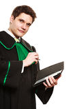 Young male lawyer hold tablet computer in open case. Technology and career legal advice. Young male lawyer hold tablet portable computer show advice and help Royalty Free Stock Photography