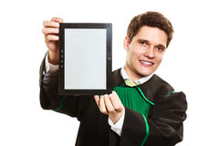 Young male lawyer hold tablet computer. Technology and career legal advice. Young male lawyer hold tablet portable computer show advice and help Stock Photo