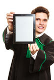 Young male lawyer hold tablet computer. Technology and career legal advice. Young male lawyer hold tablet portable computer show advice and help Stock Photos