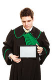 Young male lawyer hold tablet computer. Technology and career legal advice. Young male lawyer hold tablet portable computer show advice and help Royalty Free Stock Images