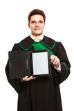 Young male lawyer hold tablet computer. Technology and career legal advice. Young male lawyer hold tablet portable computer show advice and help Stock Images
