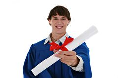 Young Male Man Holding Graduation Certificate Royalty Free Stock Images