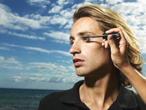Young Male Mascara Applied Royalty Free Stock Photos