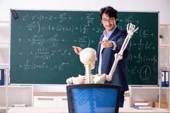 The young male math teacher and student skeleton. Young male math teacher and student skeleton stock photo