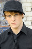 Young male model in hat stock photo