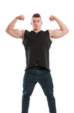 Young male model showing his big muscular arms Stock Photography