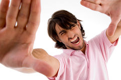 Young male model showing stop gesture Stock Images