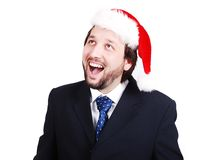 Young male model in suit with santa hat Royalty Free Stock Photo