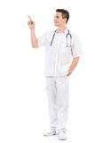 Young male nurse pointing Stock Photo