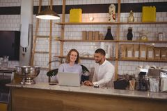 Young male owner and waitress using laptop while sitting at counter Stock Photos