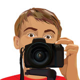 Young male man photographer. Young male photographer looking at you and pressing the button on his camera vector illustration