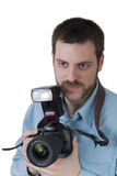 Young male photographer digital camera in hands Stock Photography