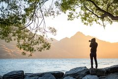 Young male photographer taking photo during sunset in Queenstown. Young male photographer taking photo under the tree at Lake Wakatipu during golden hour sunset Stock Photos