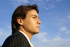 Young Male in a pinstripe suit. Man in Business Suit Looking into the Distance Royalty Free Stock Photography