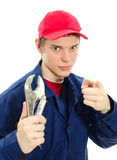 Young male plumber in uniform Royalty Free Stock Photos