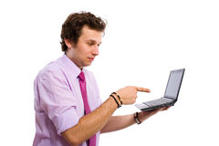 Young male point to the right website or computer, Royalty Free Stock Image