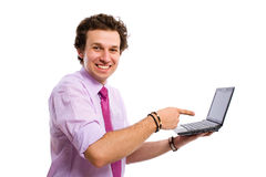 Young male point to the right website, computer Stock Images