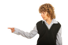 Young male pointing to left part Stock Images