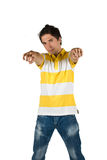 Young male pointing to you. Young male in t-shirt and jeans pointing to you with both hands isolated on white background,check also stock images