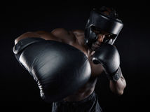Young male practicing boxing Stock Image