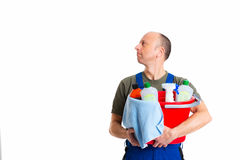 Young male professional cleaner Royalty Free Stock Photo