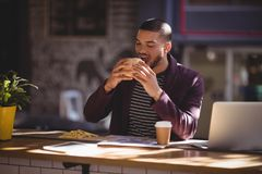 Young male professional eating burger at coffee shop. Young male professional eating burger at table in coffee shop stock images