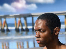 Young male profile outdoors Stock Image