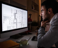 Young male programmer. Working at home Royalty Free Stock Images