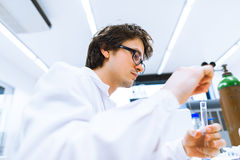Young male researcher  in a lab Royalty Free Stock Photography