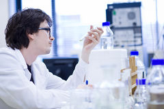 Young male researcher  in a chemistry lab Royalty Free Stock Photography