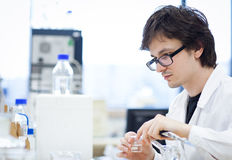 Young, male researcher/chemistry student Stock Photo