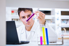 Young male researcher in a lab Stock Photography