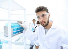 Young male scientist looking at a sample in a test tube side vie. Side view portrait of a scientist, uses a test tube and looking at the camera while working on Stock Photos