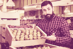Young male seller offering pears. Young glad positive male seller offering pears in grocery shop Royalty Free Stock Image