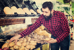 Young male seller offering potatoes. Glad cheerful positive male seller offering potatoes in grocery shop Stock Photography