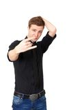 Young male showing rock hand Stock Image