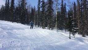 A young male skier descends the slope through the forest and makes a jump on the trampoline. HD. 1920x1080. stock footage
