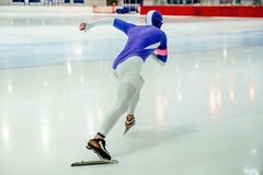 Young male speed skater. Starts sprint race. competitions in speed skating Stock Photography