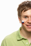 Young Male Sports Fan With Slovakian Flag Stock Photos