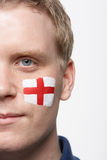 Young Male Sports Fan With St Georges Flag Royalty Free Stock Photo
