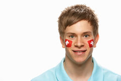 Young Male Sports Fan With Swiss Flag Royalty Free Stock Photos