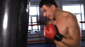 Young male sportsman athlete training in boxing gym. Boxer in red gloves stock video